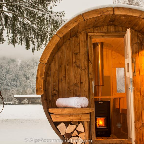 Chalet Toubkal in Samoens Wood fired barrel sauna location in the large private gardens