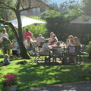 A great place for an afternoon garden party at Chalet Moccand Samoens