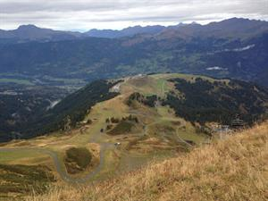 View of Samoens ski area during Autumn