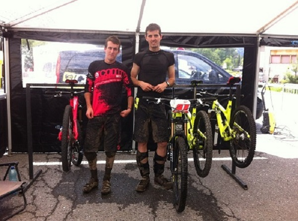 Nicolas & Remy: a little muddy (and tired!) at the end of day one of the French Cup Enduro Series, Samoëns 23/06/13.