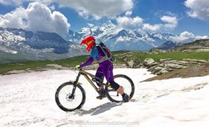 Mountain biking in Flaine with the stunning backdrop of Mont Blanc.