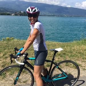 Road biking round Annecy Lake