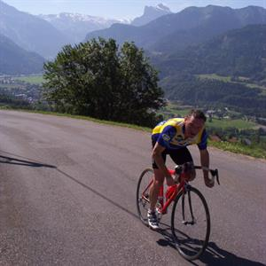 Cycling up the Col de Joux Plane