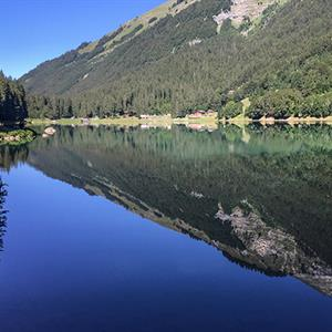 Lac de Montriond is an impressive mountain lake in Morzine
