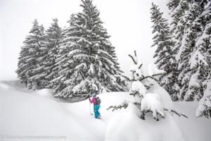 Ski touring in a winter wonderland